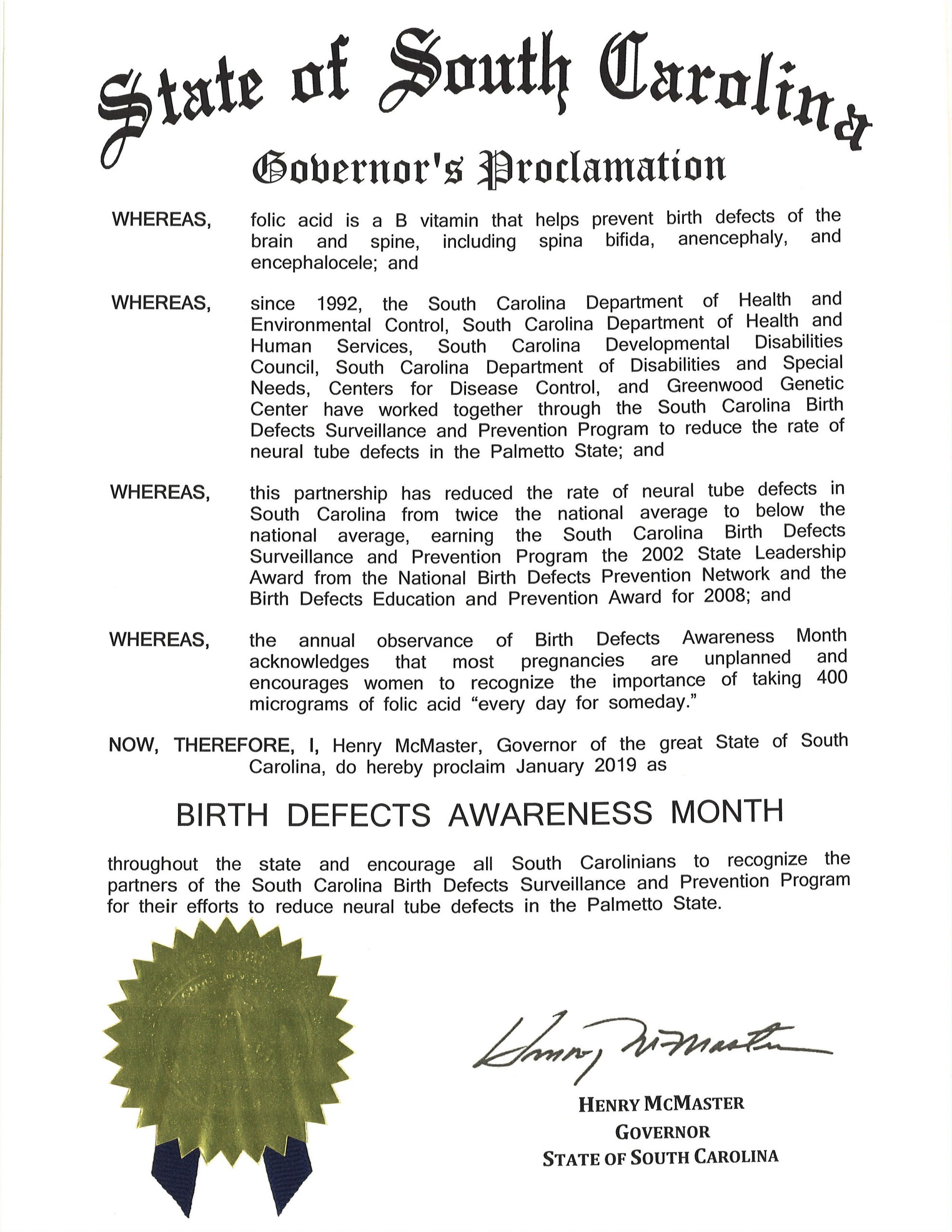 2019 SC Governor's proclamation of Birth Defects Awareness Month