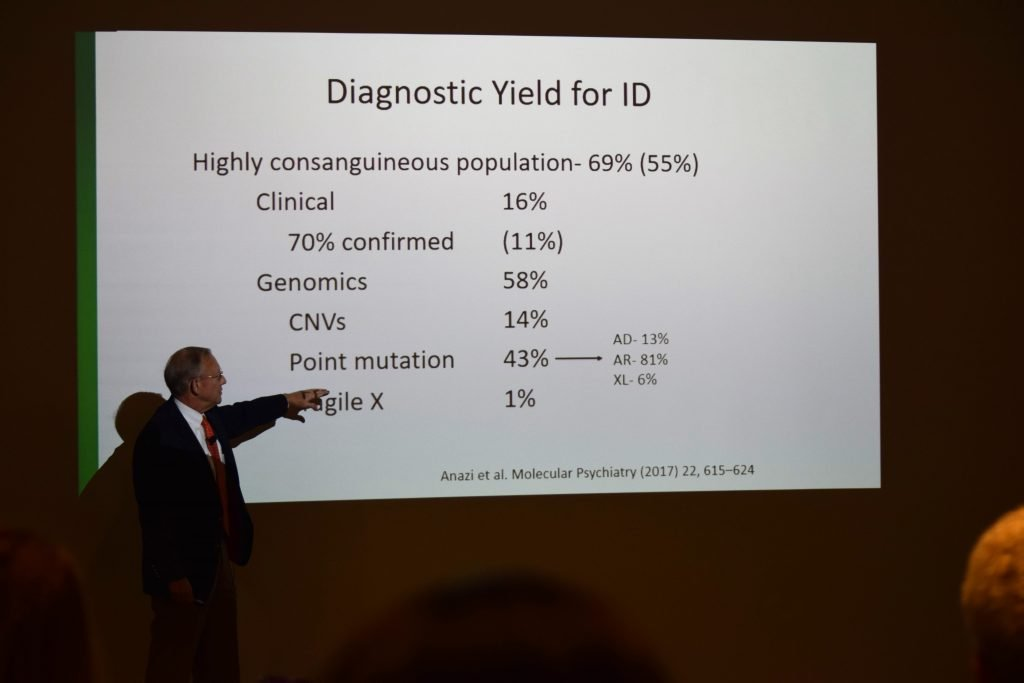 Dr. Curtis Rogers giving a talk on intellectual disability